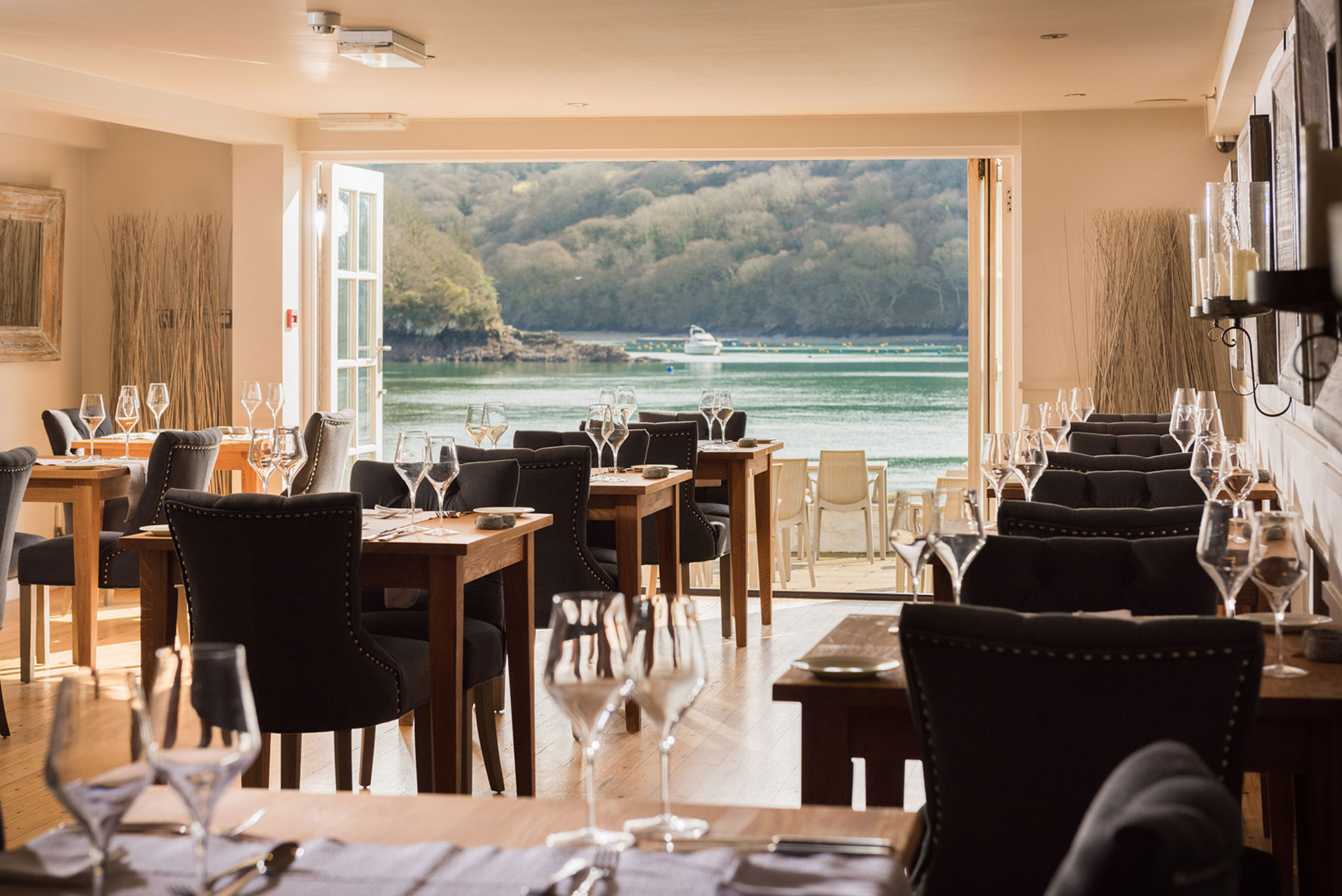 The restaurant at The Old Quay House Hotel