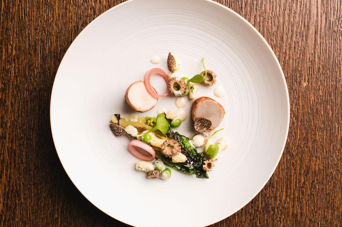 Ormer Mayfair – roast rabbit in pancetta_spring peas_morels_herb gnocchi LR