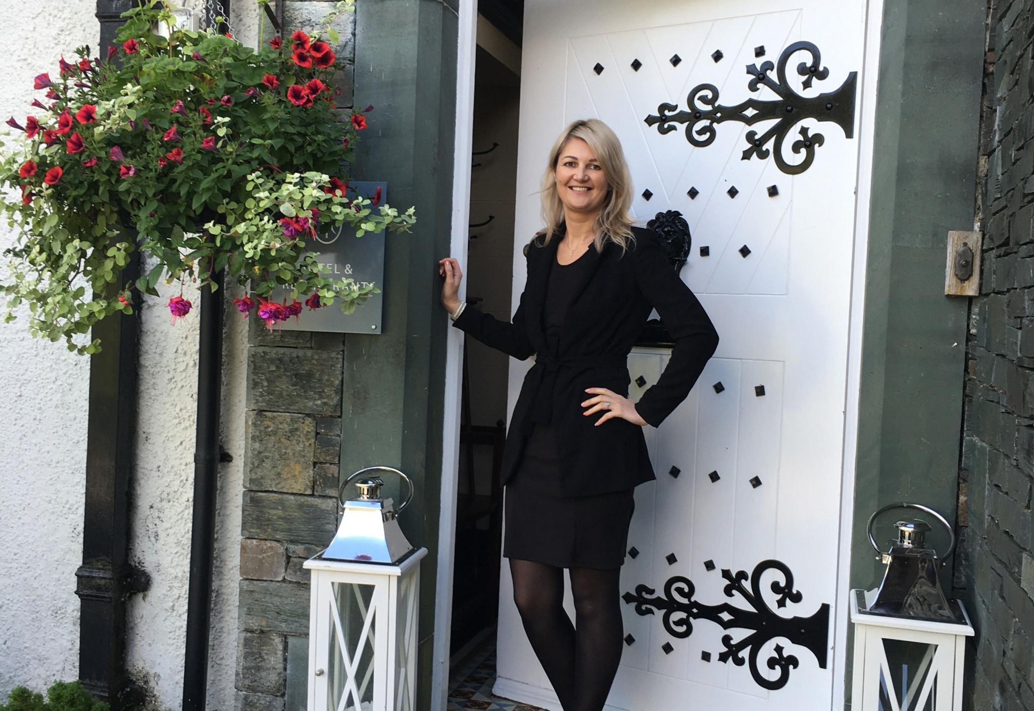 Laura Dadulak outside The Leathes Head Hotel, Borrowdale