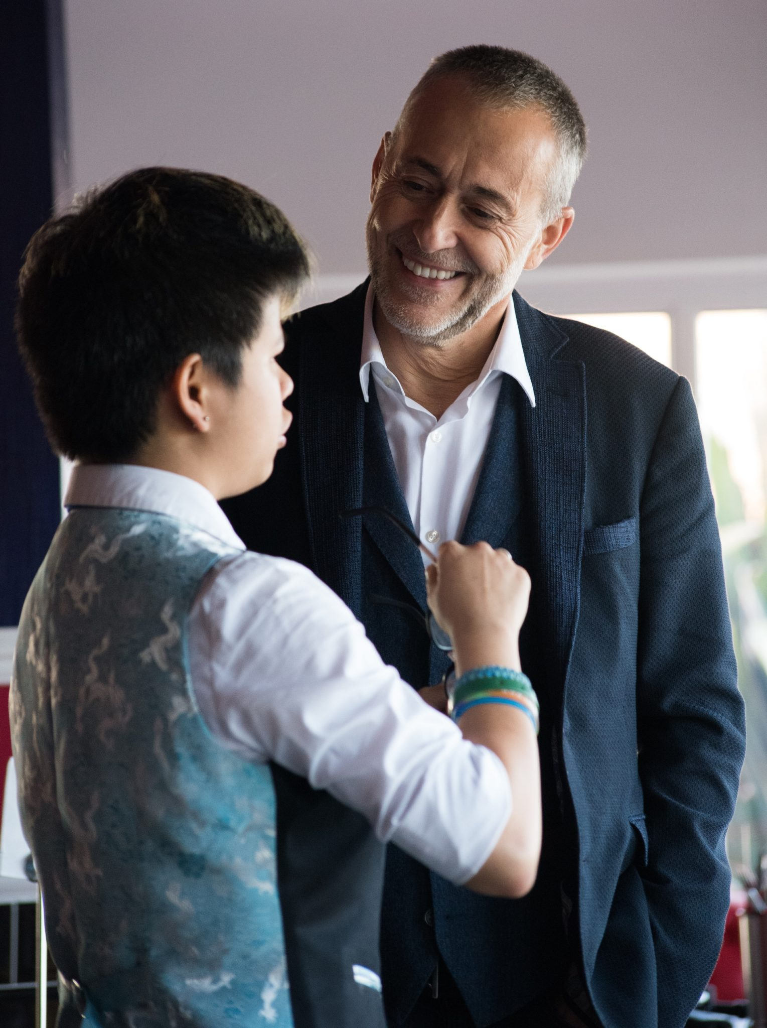 Michel Roux with a member of staff at The Rivers