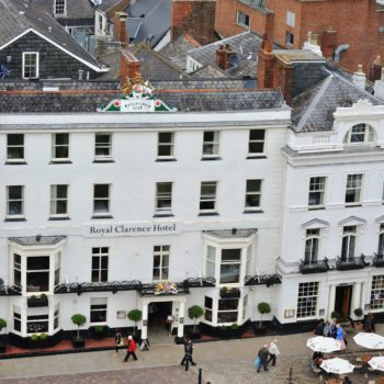Closeup of Royal Clarence Hotel, Exeter from north tower of the cathedral, 2010