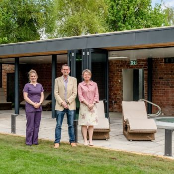 Lucy Brind with Aidan and Sarah Stevens at the new Stratton House Hotel spa