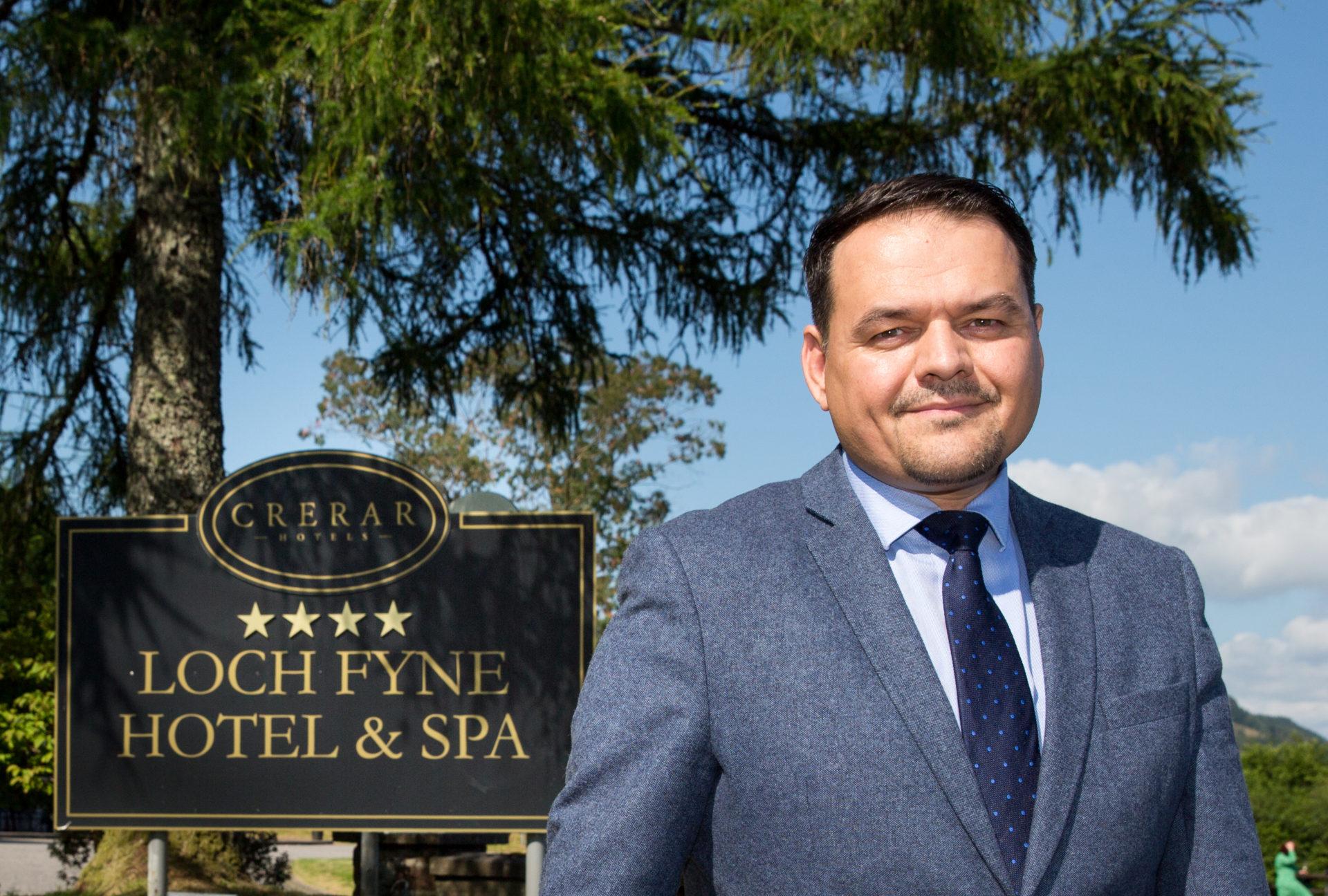 Crerar Hotels  CEO Chris Wayne-Wills outside the Loch Fyne Hotel and Spa.